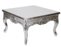 Casa Padrino Baroque silver side table 80 x 80 cm - coffee table