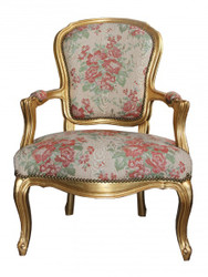 Casa Padrino Baroque Salon Chair Cream / Red Floral / Gold