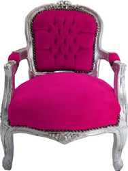 Casa Padrino Baroque chair Pink / Silver - Armchair