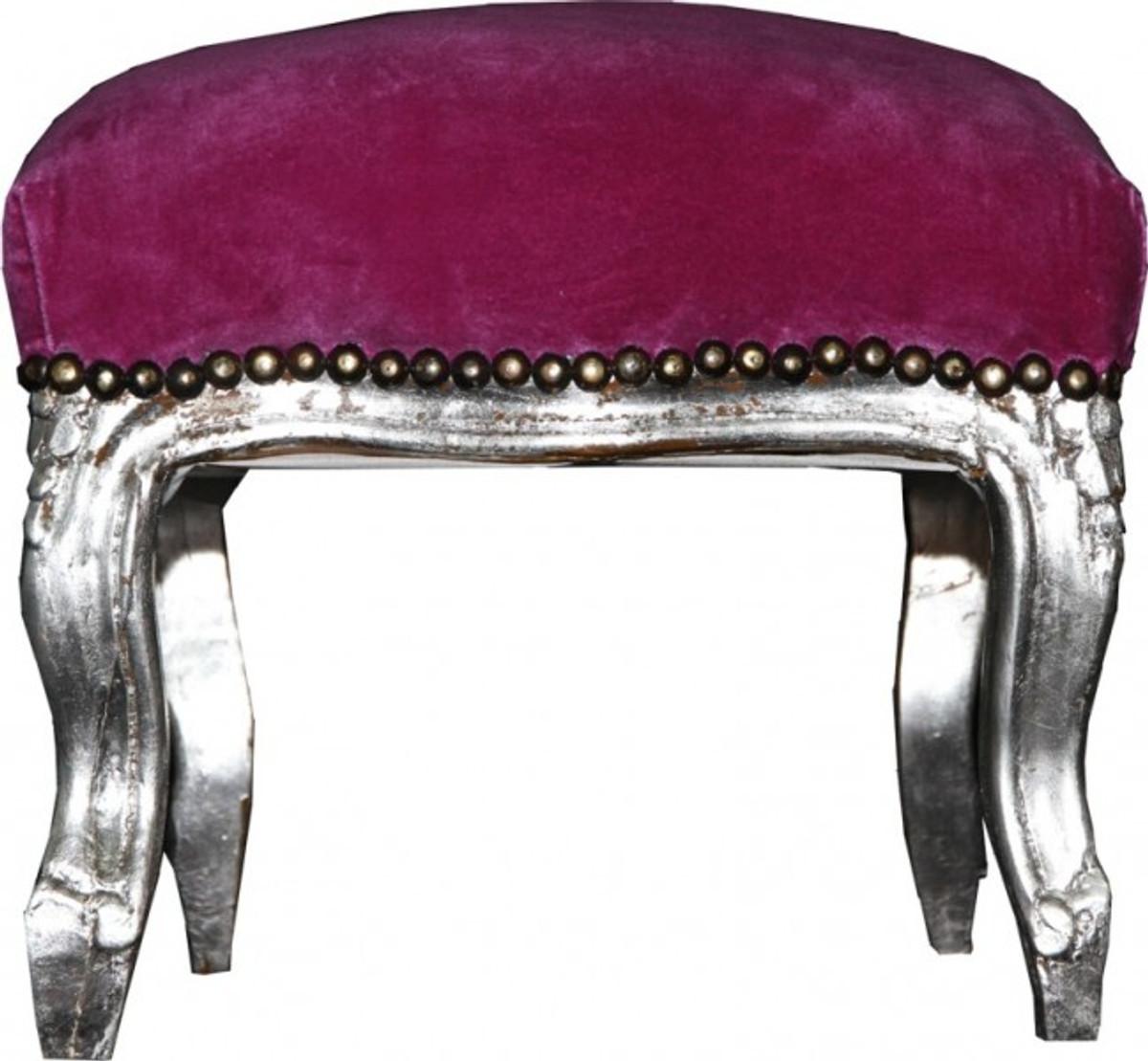baroque ottoman purple silver stools baroque stools. Black Bedroom Furniture Sets. Home Design Ideas