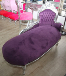 "Baroque chaise longue ""King"" Purple / Silver"