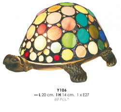 Deco Tiffany lamp Durchmessr 20cm, height 14cm colorful turtle Y106 Lamp
