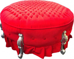 Huge Baroque round stool Stool Red / Silver