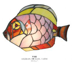 Tiffany Decoleuchte Durchmesser 26cm, Höhe 16cm Fisch Bunt Y105 Leuchte Lampe