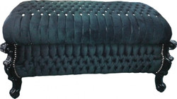 Baroque bench (chest), Black / Black with Bling Bling Stones