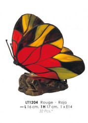 Deco Tiffany lamp diameter 16cm, height 17cm LT1204 butterfly red lamp light