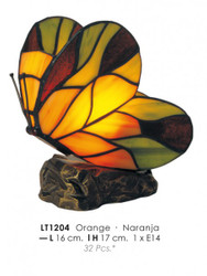 Deco Tiffany lamp diameter 16cm, height 17cm LT1204 orange butterfly lamp light