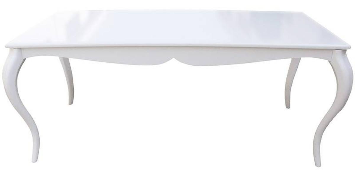 Barock Esstisch Hochglanz Weiß 180cm - Esszimmer Tisch 1