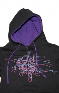 8MilesHigh Skateboard Hoodie Black/Purple Scribble Sweater – Bild 2