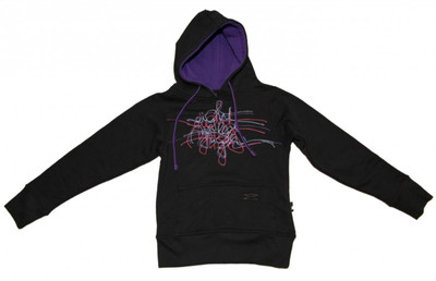 8MilesHigh Skateboard Hoodie Black/Purple Scribble Sweater – Bild 1