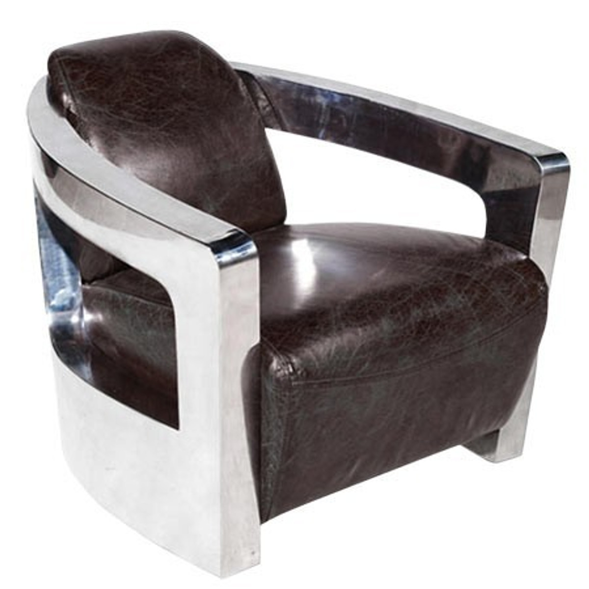 Vintage Art Deco Leather Armchair Real Leather Silver