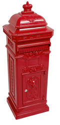 State Mailbox Antique Art Nouveau MOD6 mailbox mail box Aluminum - Red - Column Mailbox - English letterbox