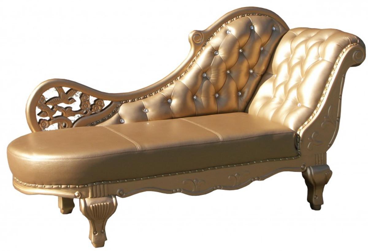 Chaiselongue antik  Barock Chaiselongue Antik Gold / Echt Leder Chaise Lonque ...