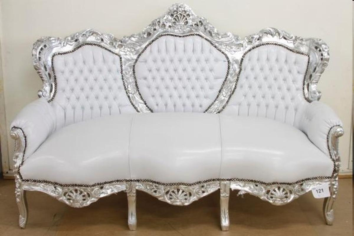 Casa Padrino Barock Sofa Garnitur Weiß Lederoptik / Silber + 2 Sessel - Wohnzimmer Barock 2
