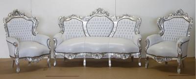 Casa Padrino Barock Sofa Garnitur Weiß Lederoptik / Silber + 2 Sessel - Wohnzimmer Barock