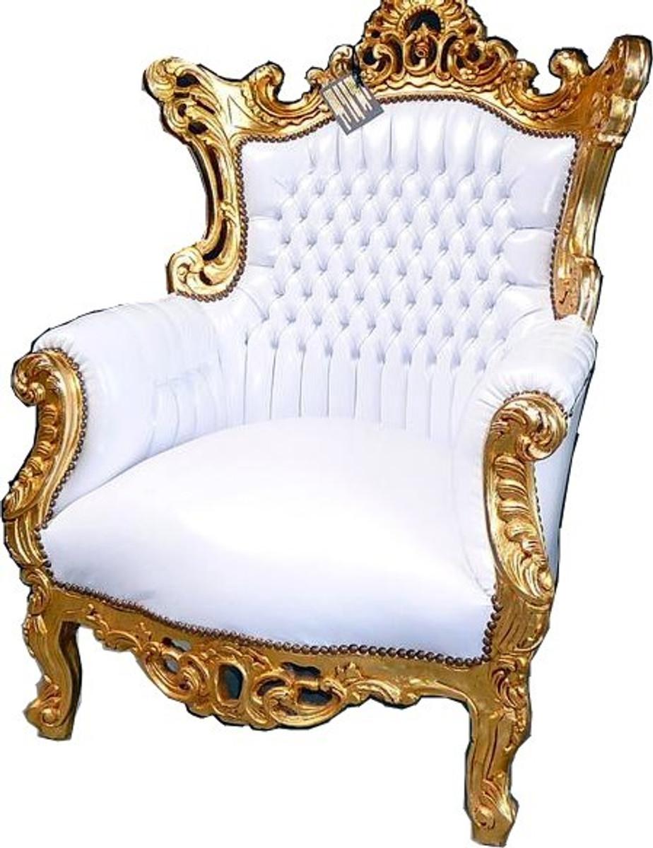 Casa Padrino Barock Sessel Al Capone Weiß/Gold 1