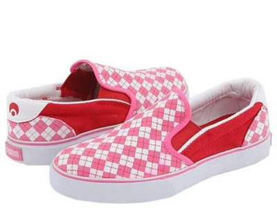 Osiris Skateboard Schuhe / Slip Ons Scoop Girls Kids Pink/Red/Argyle - Slipper - Osiris Kids Slip On Schuhe