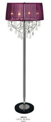 Baroque Floor Lamp with Crystal Deco, 4-burner, Purple Lamp