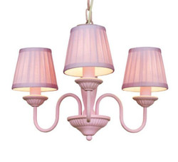 Baroque pendant lamp with pleated shade 3-burner, Pink Lamp