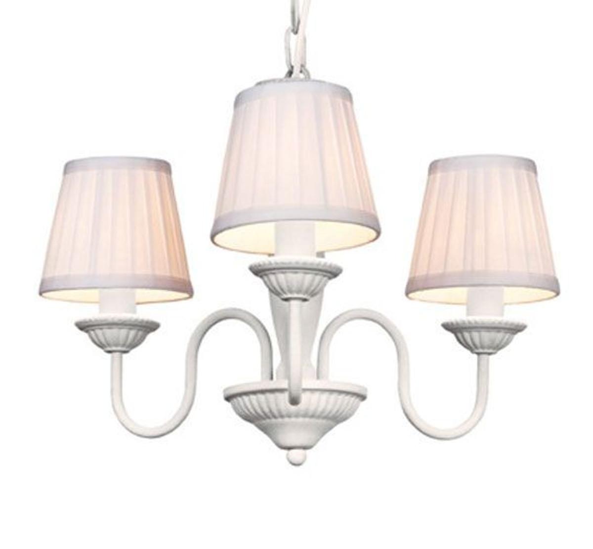 Barock Pendelleuchte Mit Plissee Schirm 3 Flammig Weiß Leuchte Lampe