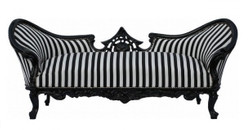 "Baroque sofa set ""Vampire"" black/white stripes / black - Limited Edition - lounge set"