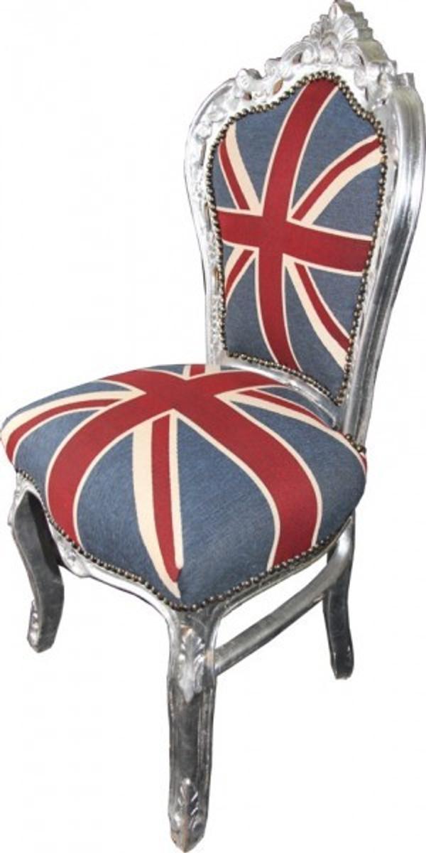 Casa Padrino Barock Esszimmer Stuhl Union Jack / Silber - England Stuhl - Englische Flagge 2
