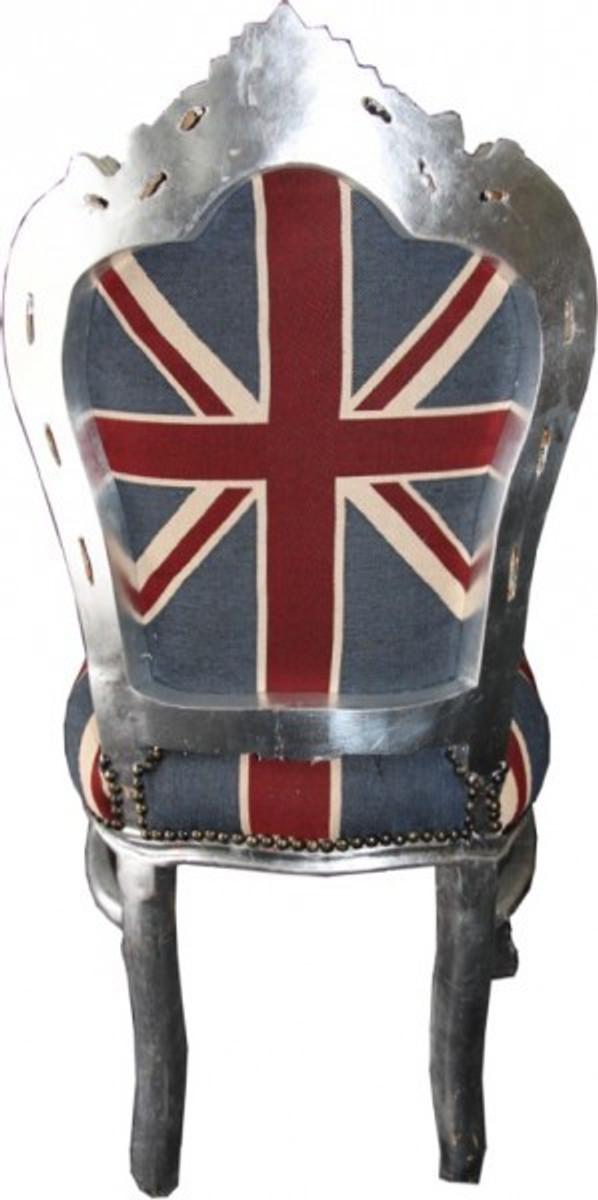 Casa Padrino Barock Esszimmer Stuhl Union Jack / Silber - England Stuhl - Englische Flagge 3