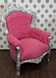 Baroque armchair King rose / silver