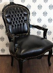 Baroque salon chair black / black leather look