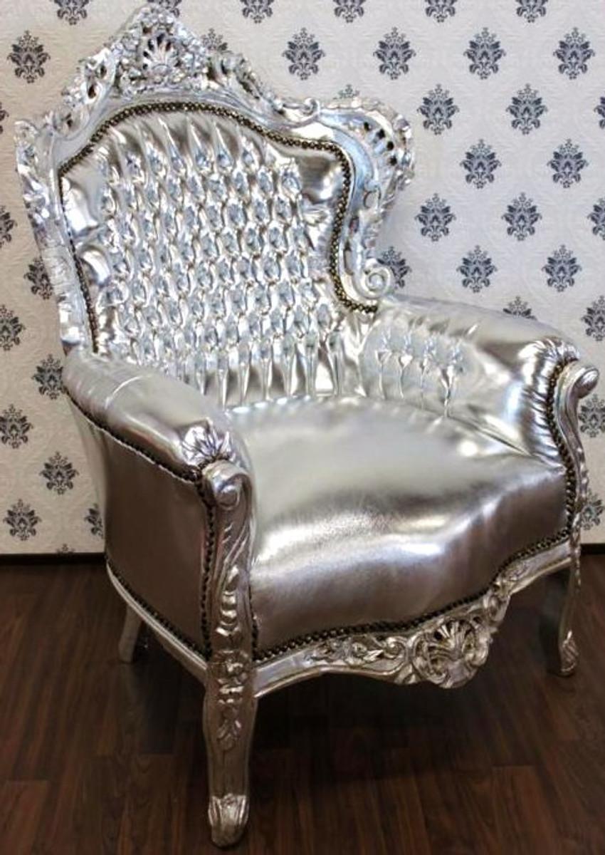 barock sessel king silber silber lederoptik m bel antik stil. Black Bedroom Furniture Sets. Home Design Ideas