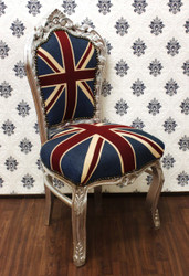 Casa Padrino Baroque dining room chair Union Jack / Silver