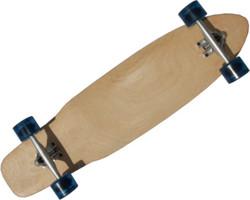 MySkateBrand Longboard Komplettboard Cruiser Natural Wood / Clear Blue 92.5 x 23 cm - Longboard Skateboard Cruiser