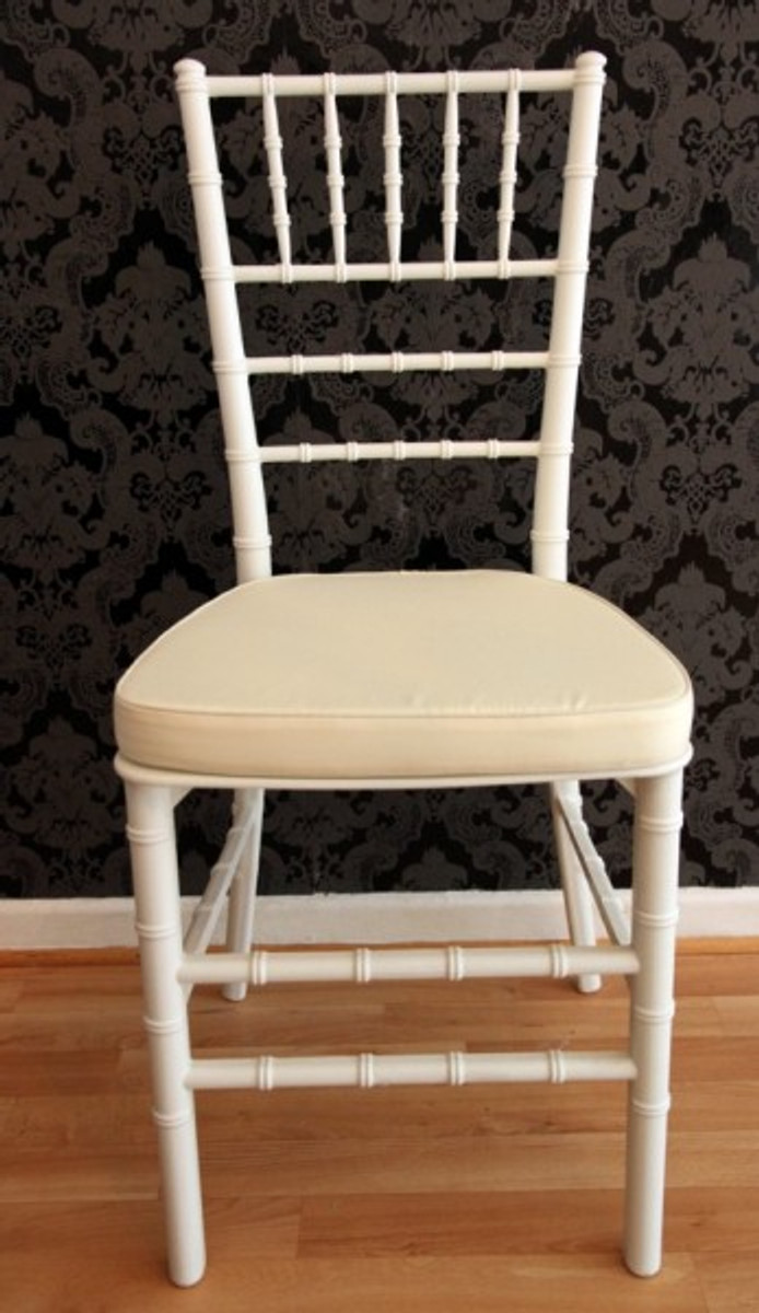 Casa Padrino Designer Acryl Stuhl inkl Sitzkissen Weiß/Creme - Ghost Chair white - Polycarbonat Möbel - Acryl Möbel - Geisterstuhl 2