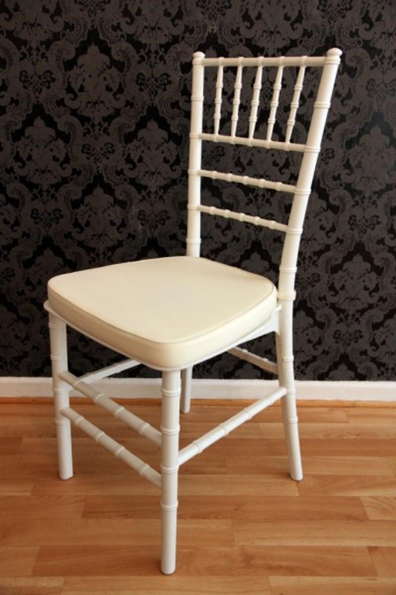 Casa Padrino Designer Acryl Stuhl inkl Sitzkissen Weiß/Creme - Ghost Chair white - Polycarbonat Möbel - Acryl Möbel - Geisterstuhl 1