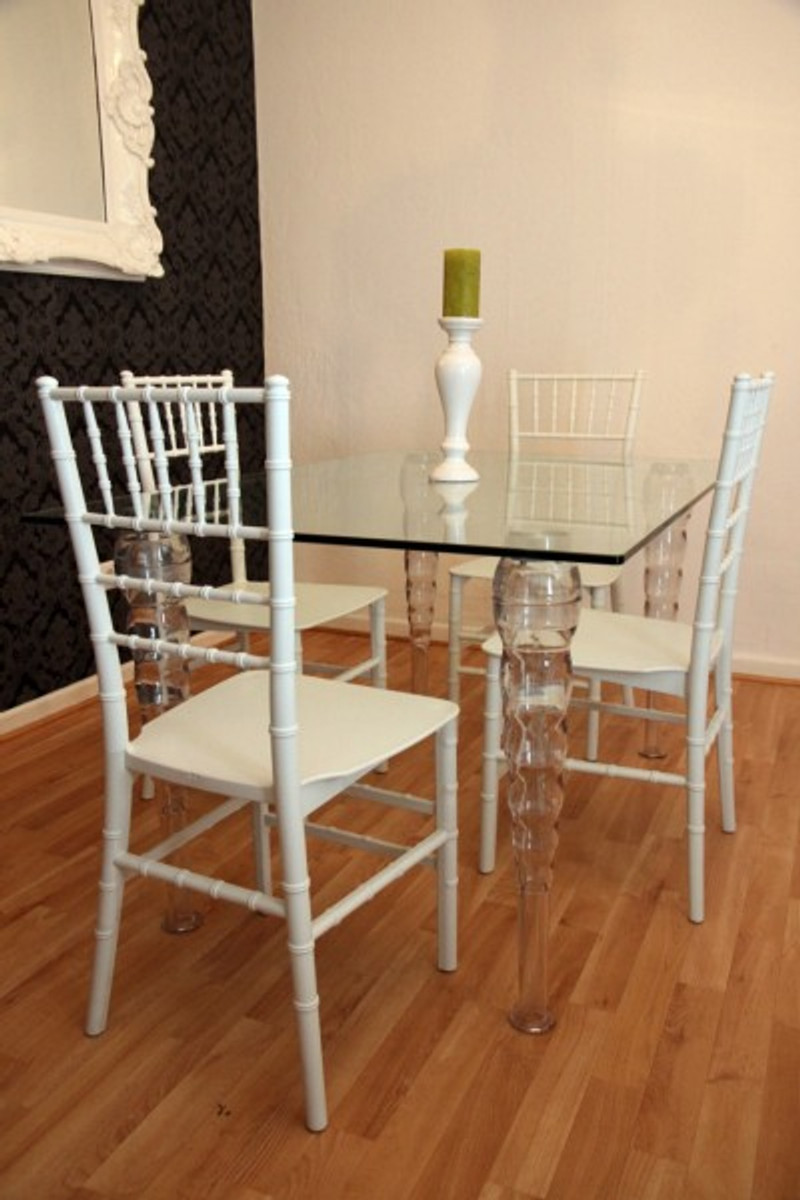 Designer Acrylic Dining Room Set Ghost Chair Table Polycarbonate Furniture A Table And 4 Chairs White House Padrino Designer Furniture Designer Furniture Casa Padrino