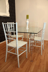 Designer acrylic dining room set - Ghost Chair Table - polycarbonate furniture - a table and 4 chairs - White House Padrino designer furniture - designer furniture Casa Padrino