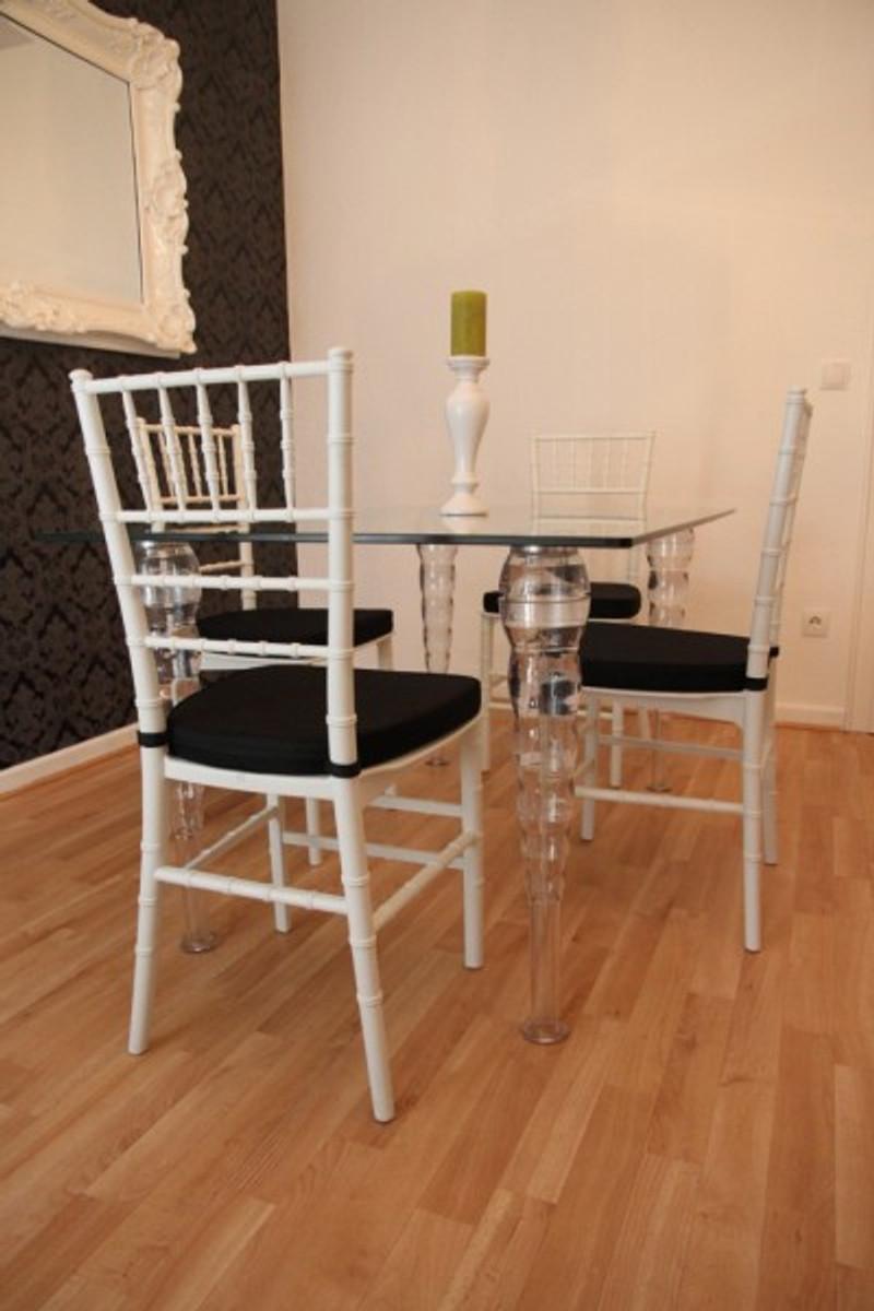 Designer Acryl Esszimmer Set Weiß Schwarz Ghost Chair