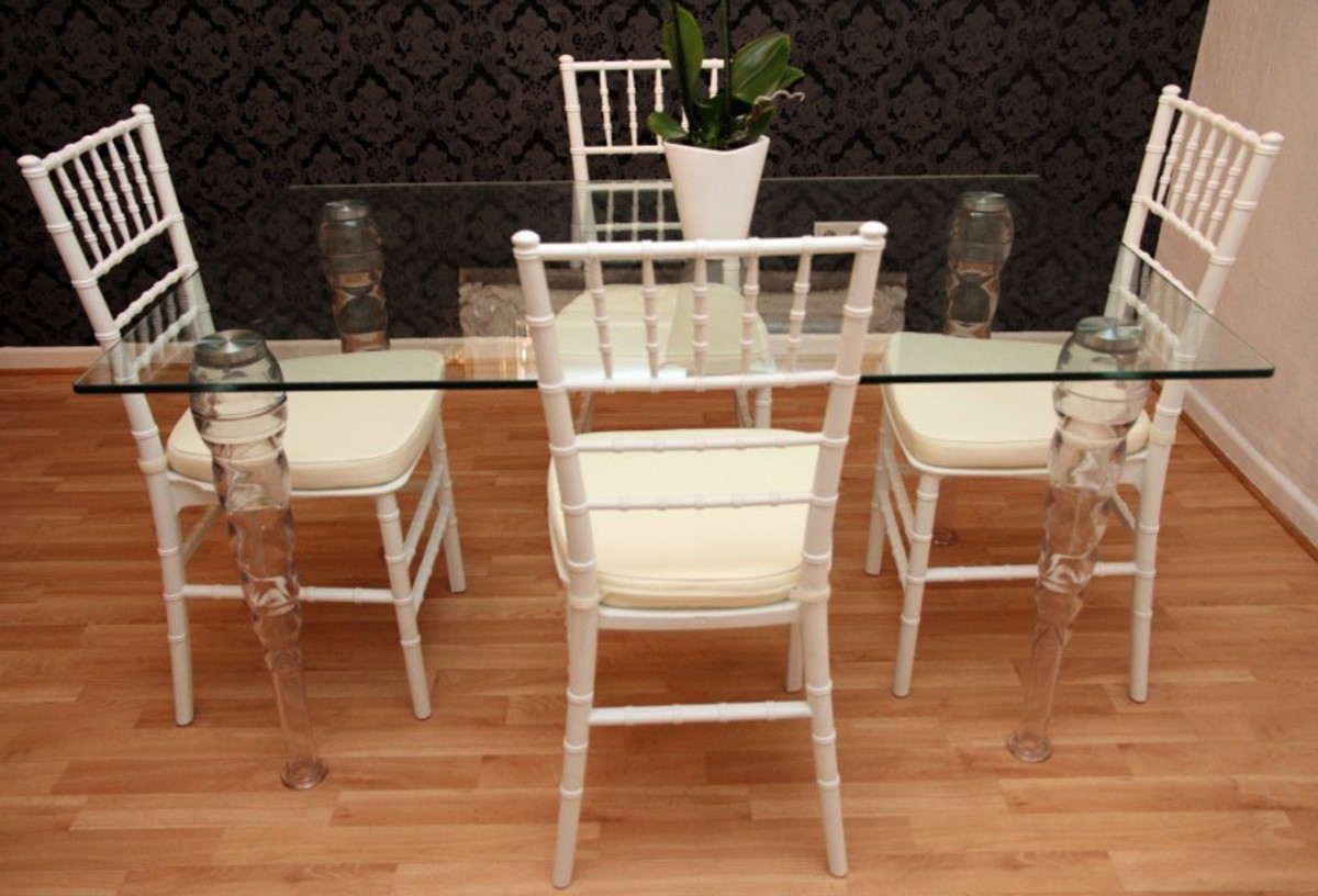 Designer Acrylic Dining Room Set White Cream Ghost Chair Table Polycarb