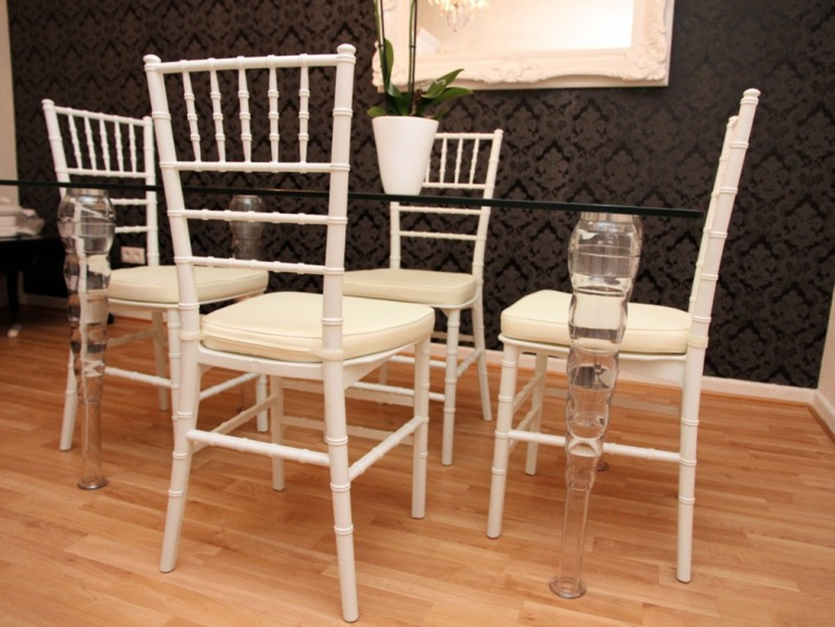 Designer Acrylic Dining Room Set White Cream Ghost Chair Table Polycarbonate Furniture A Table And 4 Chairs Casa Padrino