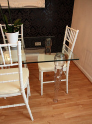 Designer acrylic dining room set white / cream - Ghost Chair Table - polycarbonate furniture - a table and 4 chairs - Casa Padrino