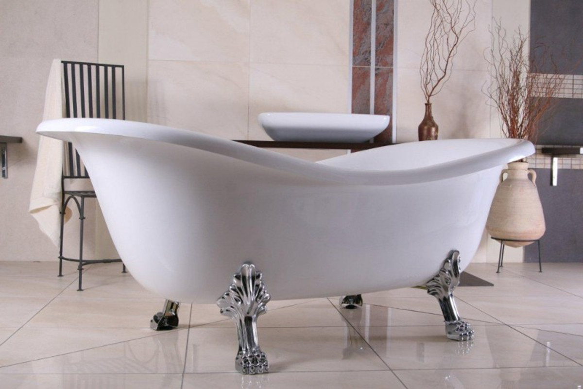 freistehende luxus badewanne jugendstil paris wei silber 1880mm barock badezimmer. Black Bedroom Furniture Sets. Home Design Ideas