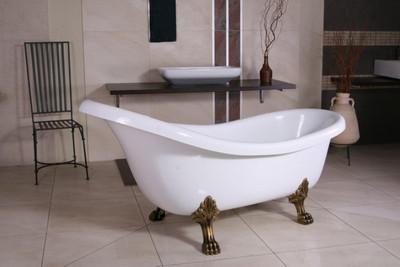 Freistehende Luxus Badewanne Jugendstil Sicilia Weiß/Altgold 1740mm ...