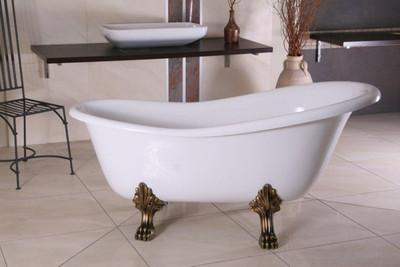 Detached Luxury Bath Nouveau Roma White Old Gold 1470mm