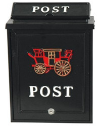 Wall letter box in aluminum black, decorated with a stagecoach, mail box post box