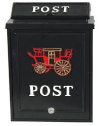 Wandbriefkasten aus Aluminium schwarz, dekoriert mit Postkutsche, Briefkasten Postkasten
