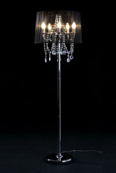 Baroque Floor Lamp with Crystal Deco, 5-burner, black light lamp
