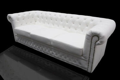 Casa Padrino Chesterfield 3 seater white - living room couch furniture – Bild 5