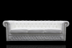 Casa Padrino Chesterfield 3 seater white - living room couch furniture
