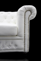 Casa Padrino Chesterfield 3 seater white - living room couch furniture 2