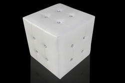 Casa Padrino seat stool white cube with bling bling stones - Stool - Cube